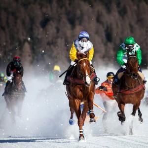 In Sankt-Moritz finden auch bei den Reichen beliebte Pferderennen statt.